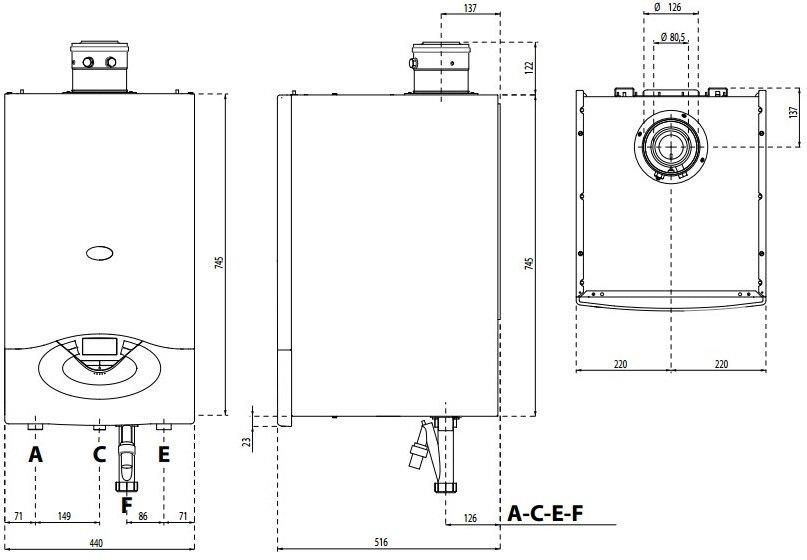 GENUS PREMIUM EVO HP 45/65 кВт ― габаритные размеры